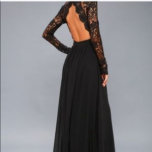 Long Sleeve Black Lace Long Dress